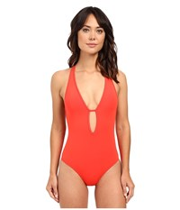 Jets By Jessika Allen Illuminate Plunge One Piece Flame Women's Swimsuits One Piece Orange