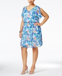 Love Squared Plus Size Flutter Sleeve Printed Dress Blue Combo