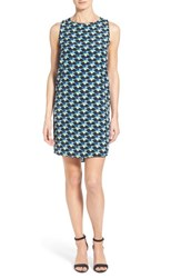 Women's Halogen Sleeveless Shift Dress Black Blue Geo Floral