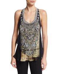 Camilla V Neck Double Layer Embellished Tank Celestial Tribute