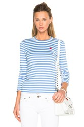 Comme Des Garcons Play Striped Small Emblem Tee In Blue Stripes