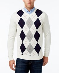 Club Room Men's V Neck Argyle Sweater Only At Macy's Winter Ivory