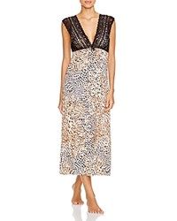 Oscar De La Renta Pink Label Cozy In The Cold Brushed Jersey Knit Long Gown