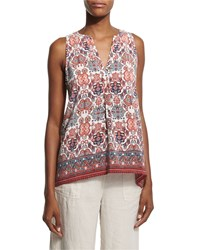 Joie Aruna Folkloric Print Sleeveless Top Women's Size S Burnt Coral