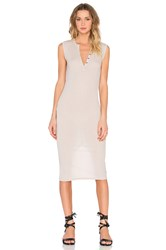 Atm Anthony Thomas Melillo Sleeveless Henley Midi Dress Gray