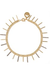 Giles And Brother Gold Plated Crystal Necklace Metallic