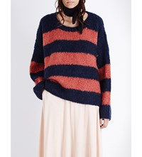 Chloe Oversized Mohair Blend Jumper Navy Rust