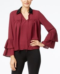 Cable And Gauge Faux Leather Collar Ruffled Blouse Burgundy