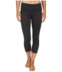 Lucy Studio Hatha Capri Leggings Black Tonal Stripe Women's Workout