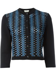 Fendi Laser Cut Cardigan Black