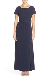 Women's Paper Crown By Lauren Conrad 'Shreveport' Side Slit A Line Crepe Gown Navy