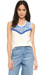 Pepin Zebra Sleeveless Tee Blue Cream
