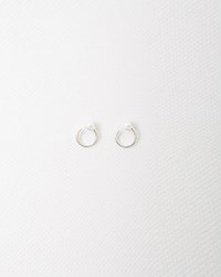 Julien David Pearl Pierce Loop Earrings Silver