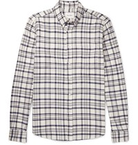 Steven Alan Button Down Collar Checked Brushed Cotton Shirt Navy