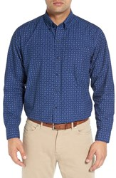 Cutter And Buck Men's 'Garrett' Regular Fit Print Cotton Poplin Sport Shirt