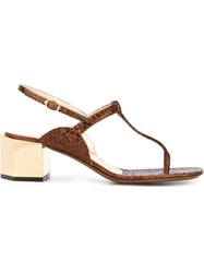 L'autre Chose Chunky Heel T Bar Sandals Brown