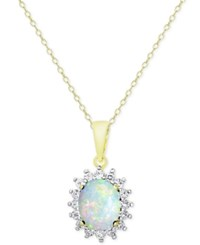 Victoria Townsend Opal 1 1 2 Ct. T.W. And White Topaz 5 8 Ct. T.W. Pendant Necklace In 18K Gold Plated Sterling Silver