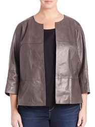Lafayette 148 New York Plus Size Ritchie Leather Jacket Deep Rock