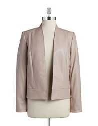 Tahari Arthur S. Levine Faux Leather Jacket Bisque Broth