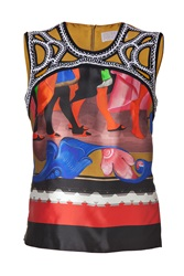 Peter Pilotto Multicolored Embroidered Silk Sleeveless Juliana Top