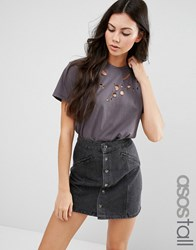 Asos Tall T Shirt In Boyfriend Fit With Distressed Detail Charcoal Grey