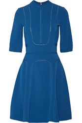 Elie Saab Pointelle Trimmed Stretch Ponte Dress Cobalt Blue