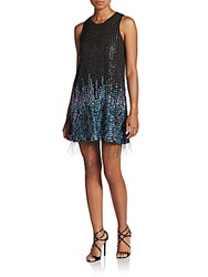 Parker Allegra Feather And Sequin Shift Dress Black