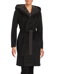 Dawn Levy Tie Front Wool Blend Down Coat Black
