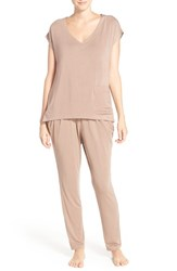 Midnight By Carole Hochman Women's Satin Trim Pajamas Nutshell