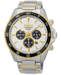 Seiko Men's Solar Chronograph Two Tone Stainless Steel Bracelet Watch 44Mm Ssc446 No Color