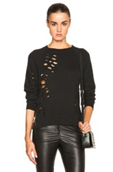 R 13 R13 Shredded Zip Side Sweatshirt In Black