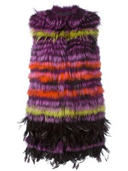 Etro Mid Length Gilet Pink And Purple