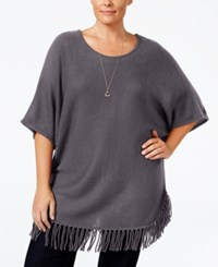 Ny Collection Plus Size Knit Fringe Poncho Sweater Charcoal Heather