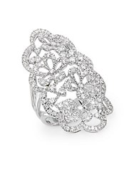 Effy Diamond And 14K White Gold Floral Ring