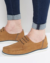 Asos Boat Shoes In Tan Suede With White Sole Tan