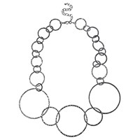 Adele Marie Graduating Textured Hoop Necklace Silver