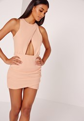 Missguided Sleeveless Cut Out Ruched Bodycon Dress Pink Pink