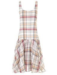 Suno Pink Plaid Ruffled Hem Dress Wine