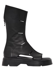 Julius Leather Open Toe Boots With Cutouts