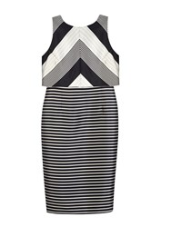 Wallis Sapphire Monochrome Stripe Dress Black White