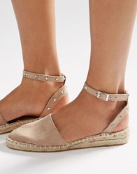 Asos Jinx Studded Two Part Espadrilles Taupe Beige