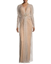 Jenny Packham Long Sleeve Embellished Overlay Gown Illusion Women's