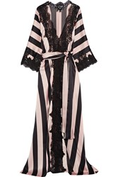 Rosamosario Amori Imprigionati Lace Trimmed Striped Silk Satin Robe Black Pink