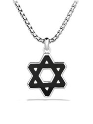David Yurman Exotic Stone Reversible Star Of David Black Onyx Chain Necklace Silver Onyx