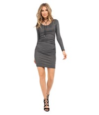 Michael Stars Shine Long Sleeve Scoop Neck Dress W Shirring Oxide Women's Dress Blue