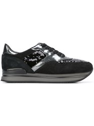 Hogan Sequined Lace Up Sneakers Black