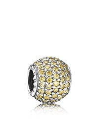 Pandora Design Pandora Charm Sterling Silver And Cubic Zirconia Pave Lights Moments Collection Fancy Golden Silver