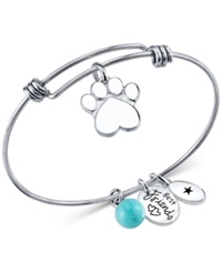 Unwritten Dog Paw Charm And Amazonite 8Mm Bangle Bracelet In Stainless Steel