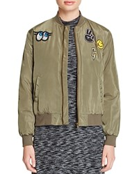 Aqua Patch Bomber Jacket Army Green