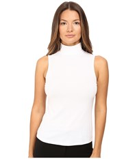 Theory Wendel Ribbed Viscose Sleeveless Turtleneck Top White